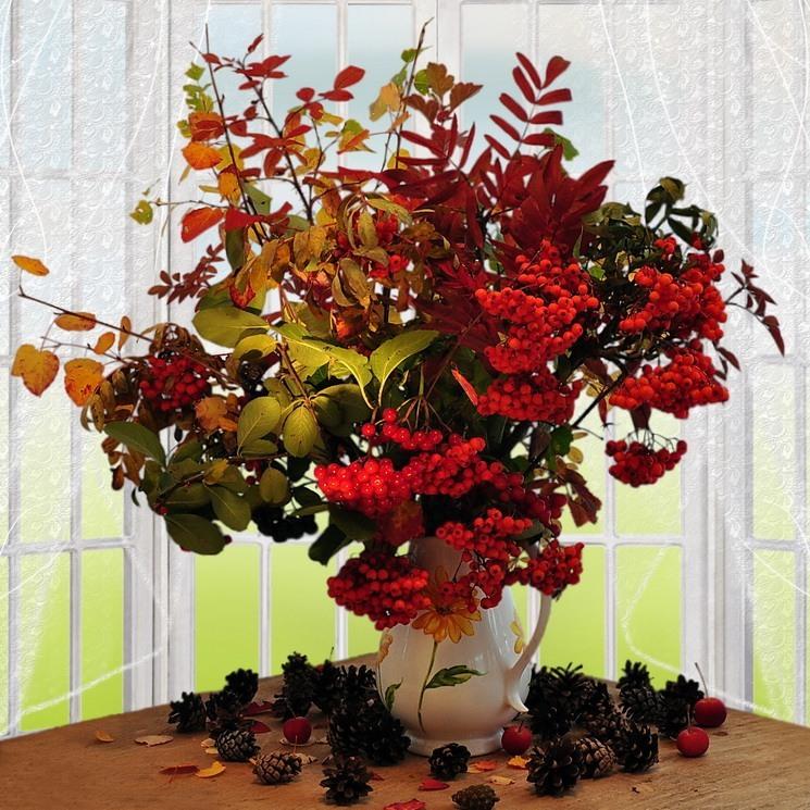 Осенний букет с рябиной своими руками 86